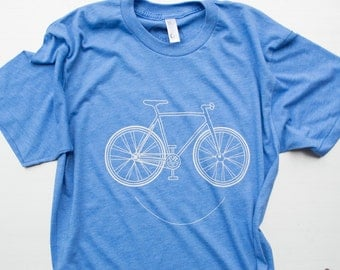 Bike Shirt, screen print on american apparel.free shipping in US. color: blue, s,m,l,xl.