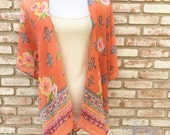 Kimono Cardigan, Coral Boho Kimono Jacket, Gift for Her, Wedding Kimono, Hippy Boho Kimono, Beach Coverup, Summer Outift, Maternity Top