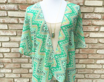 Kimono Jacket,Kimono Cardigan, Gift Ideas, Festival Chic, Boho Hippie Clothing, Handmade Kimono Coverup, Beachwear Coverup, Green Chevron