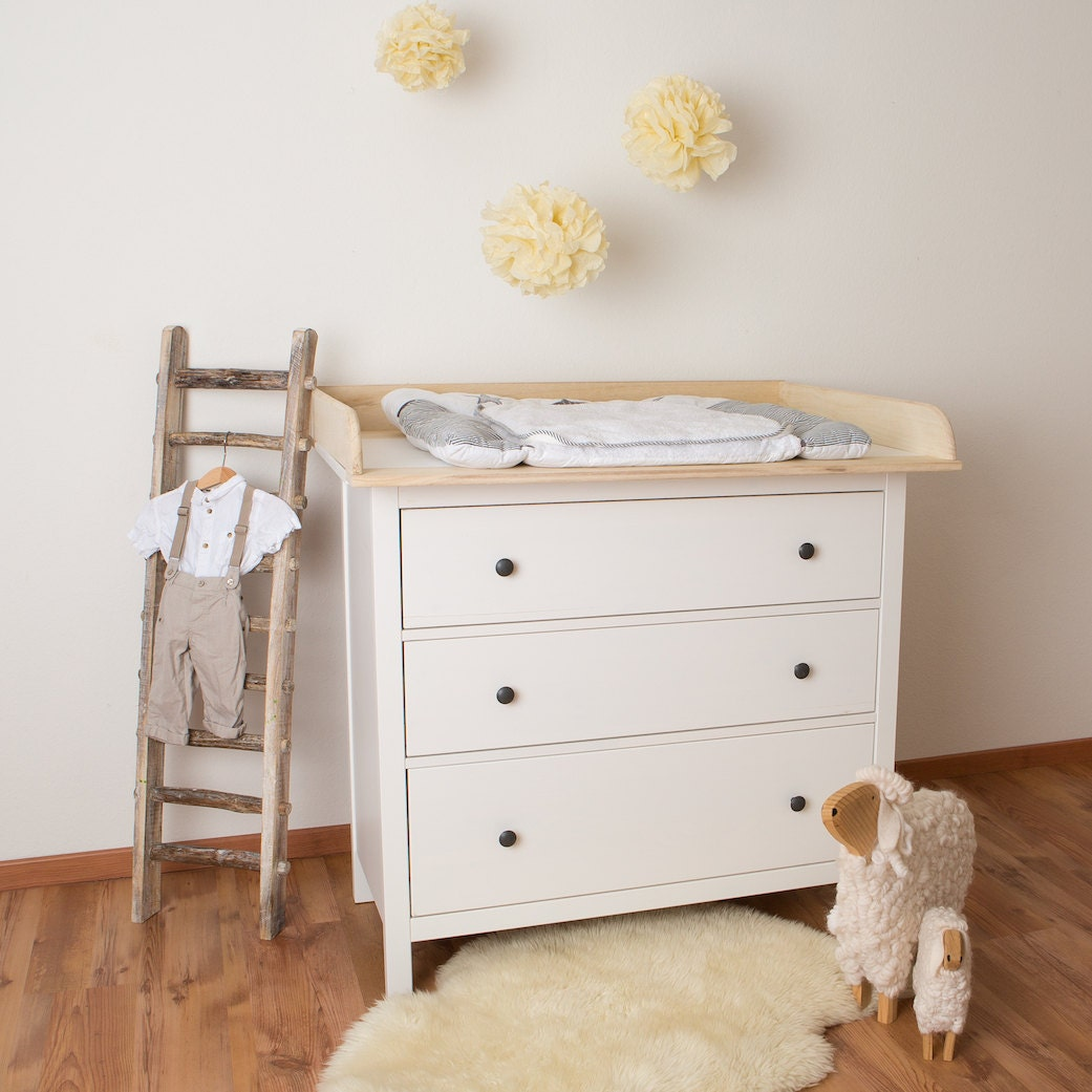 Xxl natural wood changer changing table top for ikea hemnes - Tables a langer ikea ...