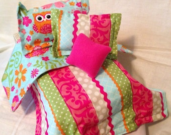 "Funky Owl Doll Bedding for up to 18"" Dolls"
