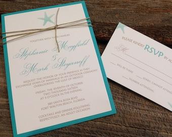 Beach Wedding Invitation Set,Starfish Wedding Invitation,Destination Wedding Invitation,Ocean Wedding Invitation,Aqua Wedding Invitation