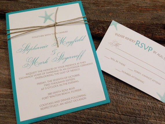 Starfish Wedding Invitation Kit: Beach Wedding Invitation Set Starfish Wedding Invitation