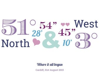 Personalised wedding location coordinates print