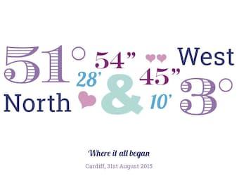 Personalised wedding location coordinates print - DOWNLOADABLE PRINT
