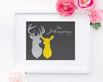 Buck and Doe Customized 8x10 Name Print