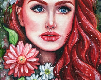 ORIGINAL WATERCOLOUR PAINTING Nature Portrait Girl Red Hair by Emily Luella