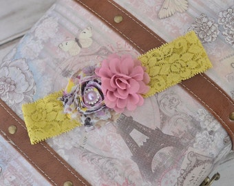 Mustard and Rose Flower Lace Headband