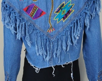 Fringe denim cut off shirt