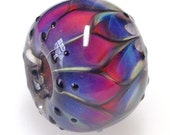 Handmade Glass Bead/fuchsia and Blue Handmade Glass Bead/BHB/Big Hole Handmade Glass Bead