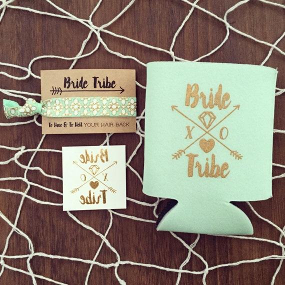 NEW! Bride Tribe Bachelorette Gift Set   Metallic Gold Tattoo, Hair Tie + Drink Cooler   Bachelorette Gift, Boho Bachelorette Party Favor