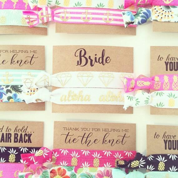 BEACH BRIDE Hair Tie Gift | White + Gold Tropical Bride Hair Ties, Destination Wedding, Nautical Bride, Bridal Shower Bachelorette Hair Ties