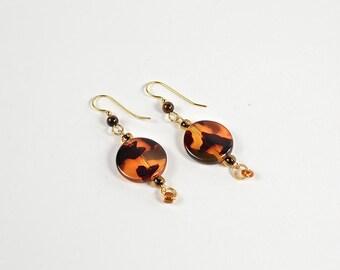 Tortoiseshell Toned Dangle Beaded Earrings