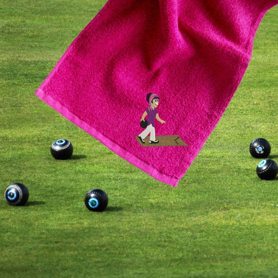 Personalised Bowls Towel Lady Bowler Embroidered By OMGmygift