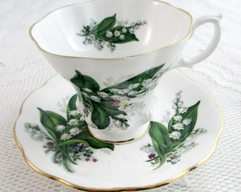 Royal Albert Tea Cup and Saucer with Lily of the Valley Flowers
