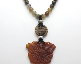 Butterfly Jade Pendant Necklace | Chinese Jade Necklace| Soo Chow Jade Jewelry| Gift for Her
