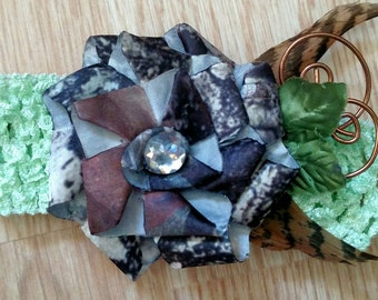 Camo infant headband with feather and leaves