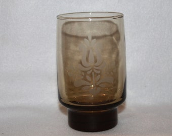 D3 Goblet in Village Made in USA Pfaltzgraff Tumbler Water Juice Brown Etched Glass