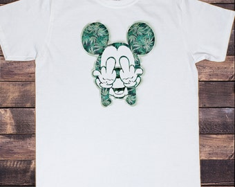 Men's White T-Shirt Mickey Dope Cannabis Infused  Print 30-41 C25-18