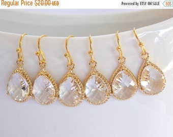 SALE Wedding Jewelry, Bridesmaid Jewelry, Crystal, Clear, Bridesmaid  Earrings, Bridesmaid Gifts, Drop, Gold Earrings, Dangle, Wedding Earri