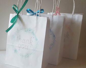 Gift Bags - Bridesmaid Gift Bag - Personalized Gift Bags - Thank You Bags - Custom Thank You Bag - Bridesmaid Gift- Wedding Party Gift - 5ct