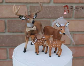 Whitetail Deer Family, Buck, Doe, and Fawn Cake Topper for Rustic, Country, or Woodland Wedding
