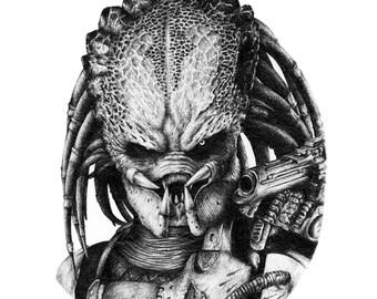 Predator Pencil Portrait Print
