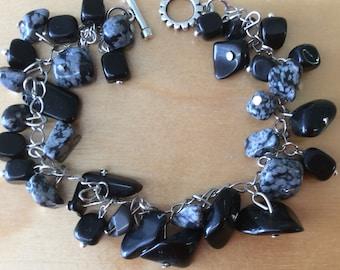 Black onyx and Snow flake Stone Bracelet