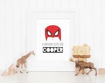 A Superhero Sleeps Here - Personalised Name Printable - Spiderman Design - Art Print - Digital File - 8x10