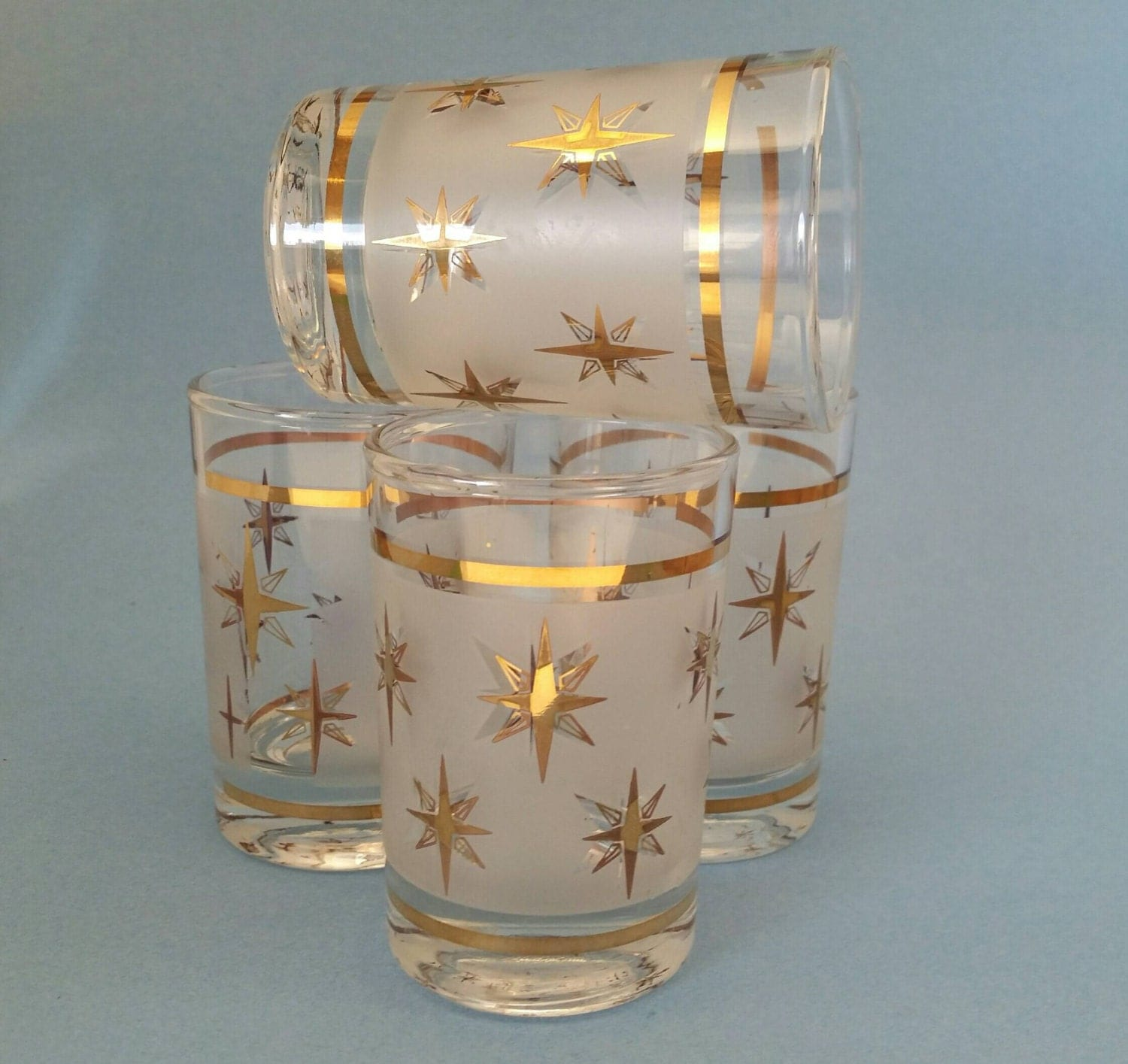 Vintage starburst juice glasses x4 - Starburst glassware ...