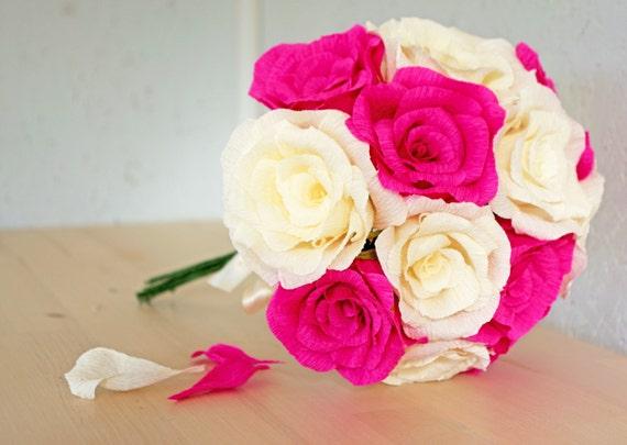 Pink And Cream Paper Flower Wedding Bouquet Bridal