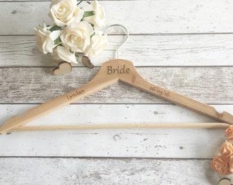 Wedding Dress Hanger, Wooden Hanger , Clothes Hanger, Bride Hanger, Personalised Hanger, Bridal Party Hangers, Engraved Clothes Hanger