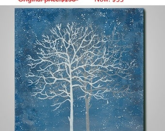 Abstract tree painting, original painting, acrylic painting, canvas art, blue