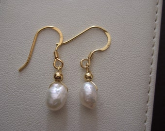 Freshwater Baroque Pearl Nugget Drop Earrings with Vermeil, Gold Plated Sterling Silver, Plain Beads, Wires and Head Pins
