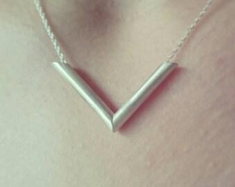 Sterling Silver Chevron/vegan Necklace