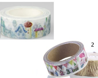 Pretty Patterned Washi Tape. - Houses - Happy Birthday -