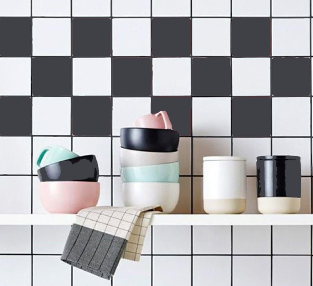 Cuisine salle de bain stickers vinyle autocollant de tuile - Vinyle salle de bain ...