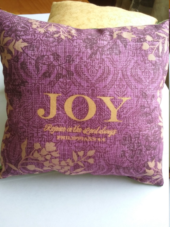 Small Decorative Pillow Purple Bible Verse by KingdomWorkshop