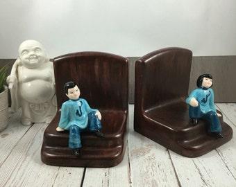 Vintage bookends,Asian decor,bookends,book ends,faux wood,japanese ceramics,asian home decor,mid century,den decor