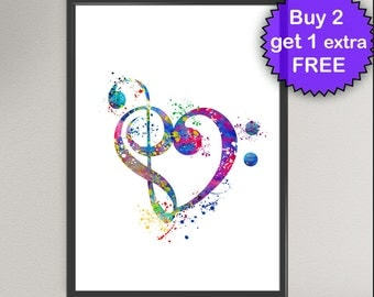 Treble and Bass Clef Love Heart Sign Watercolor Art Print Music Treble Clef G-Clef Painting illustrations Art Print Wall Poster Decor (Nº2)