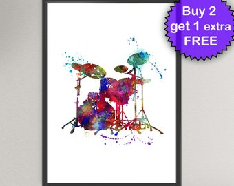 DRUMS Watercolor Art Print Music Instrument Ink Art Painting illustrations Art Print Wall Art Poster Giclée Wall Decor christmas gift