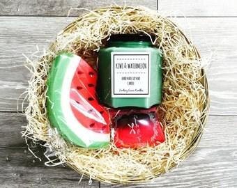 Candle Hamper, Fruity Candle, Soap Hamper, Fruity Scent, Summer Gift, Pamper Hamper, Kiwi And Watermelon Scent, Large Hamper