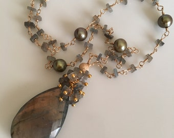 Labradorite Necklace - Olive Pearls - Genuine Perfect Round Pearls- Luxe Necklace, Semi Precious Necklace and earrings.