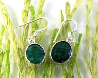 Emerald and  925 sterling silver earrings  --  6014