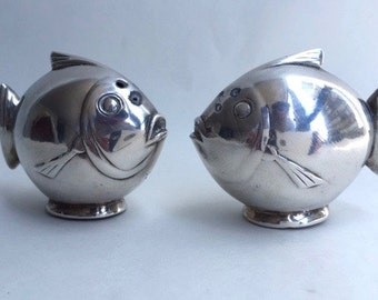 Art Deco Silver Plated Fish Salt and Pepper Shakers