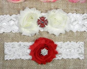 Firefighter Wedding Garter Set, Fireman Bridal Garter and Toss Garter Set, Fire Dept Garter, Red and Ivory Shabby Flower Garter, Lace Garter