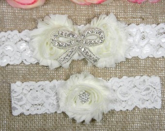 Ivory Wedding Garter Set, Wedding Garter, Rhinestone Bow Garter and Toss Garter Set, Lace Wedding Garter Set, Shabby Flower Bridal Garters