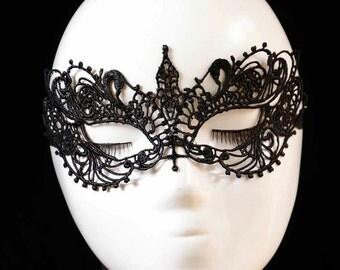 Black Lace Masquerade Mask, Mardi Gras Mask, Party Mask, Costume Mask, Gift #599