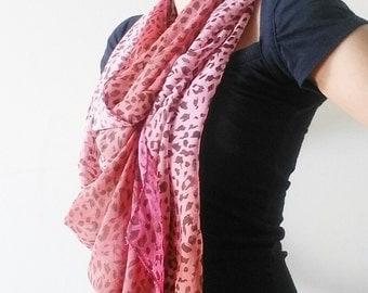 Leopard Scarf - Pink Leopard Scarf - Chiffon Leopard Scarf - Lady Scarf - Leopard Shawl - Pink Scarf - Scarves - Women Scarf - Gift Under 20