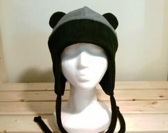 Panda Bear Hat - Bear Hat - Bear Fleece Hat - Aviator Earflap Hat - Panda Ears - Panda Hat - Cosplay Hat - Anime Panda - Manga Bear Hat
